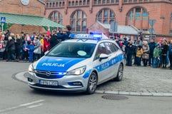 Poolse politiewagen bij Nationale Onafhankelijkheidsdag in Gdansk in Polen Viert 100ste verjaardag van onafhankelijkheid royalty-vrije stock afbeeldingen