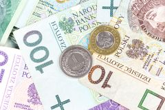 Poolse zloty bankbiljetten en muntstukkenclose-up Royalty-vrije Stock Afbeelding