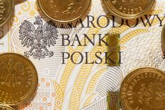 Poolse Zloty, close-up Stock Afbeelding