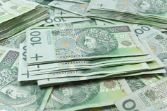 Poolse zloty geldachtergrond Royalty-vrije Stock Foto's