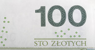 Poolse Zloty 100 tekenmacro Royalty-vrije Stock Foto