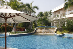 Poolside. View of the swimming pool at the Sheraton hotel in Hua Hin, Thailand Stock Photography