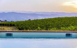 Poolside bei Sonnenuntergang stockbilder