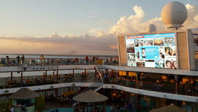 Poolside on the Carnival Breeze docked in Miami, Florida Royalty Free Stock Photo