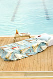 Poolside and chaise longue Royalty Free Stock Photos
