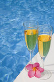 Poolside Champagne Stock Photography
