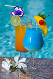 Poolside Cocktails Royalty Free Stock Images