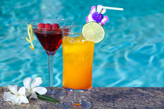 Poolside Cocktails Royalty Free Stock Photos