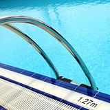 Abstract detail of poolside. Detail of poolside with the step and depth in close up stock image