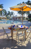 Poolside Dining. In the Bahamas royalty free stock photo