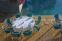 Poolside dining Stock Image