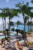 Poolside-Entspannung Puerto Rico Stockfoto