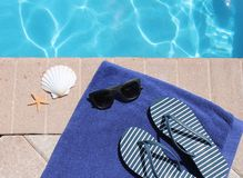 Poolside holiday scenic sandals thongs Royalty Free Stock Photo