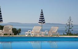 Poolside at le lavandou, french riviera. Poolside on the sea at le lavandou azur hotel  french riviera, france, seascape Stock Image