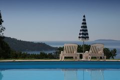 Poolside at le lavandou, french riviera Royalty Free Stock Image