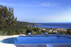 Poolside at Le Lavandou, french riviera, france Royalty Free Stock Photos