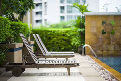 Poolside lounge chair Stock Photography
