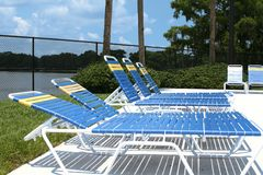 Poolside Lounge Chairs Stock Photography