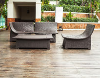 Poolside loungers. At an exotic asian hotel royalty free stock image
