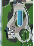 Poolside master plan, 3D render Royalty Free Stock Photo