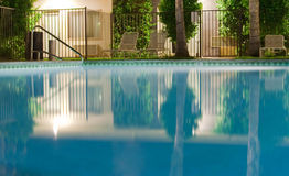 Poolside night. Calm and empty poolside at night Stock Photography
