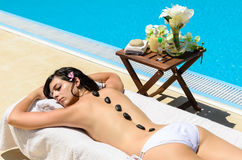 poolside relaksuje zdrój Fotografia Royalty Free