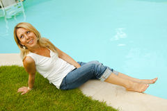 Poolside resting Royalty Free Stock Photos