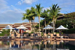 Poolside scenery in The Ritz-Carlton Sanya, Yalong Bay Stock Image