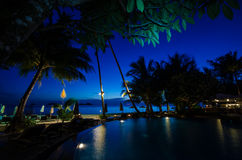 Poolside sea view at koh chang Royalty Free Stock Photography