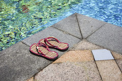 Poolside slippers Stock Photos