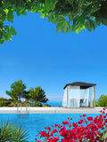 Poolside summer vacations image Royalty Free Stock Photo