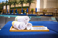Poolside towels. At luxury resort Royalty Free Stock Photo