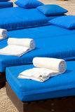 Poolside towels Royalty Free Stock Image