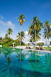 Poolside on the tropical island. Swimming pool among tropical palms with sunbeds and sun umbrellas near it.  Ocean and beach on the horizon Royalty Free Stock Photos