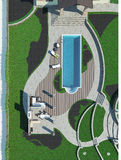Poolsidegeneralplanen, 3D framför Royaltyfri Foto