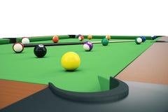 Poolsnooker-Ballhintergrund der Illustration 3D amerikanischer Amerikanisches Billard schließen Sie herauf Billardkugeln Stangens Lizenzfreie Stockbilder