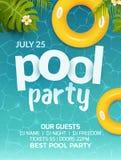 Poolsommerfesteinladungsfahnen-Fliegerdesign Aufblasbare gelbe Matratze des Wassers und der Palme Pool-Party-Schablonenplakat stock abbildung