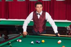 Poolspeler. Stock Afbeelding