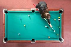Pooltabelle von oben Stockfotografie