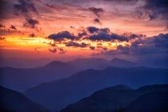从Poon小山,尼泊尔的日落 免版税库存照片