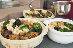 Poon Choi Cantonese Big Feast Bowls Preparation Stock Photography