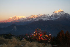 Poon hill. A view of dhaulagiri group at sunrise from poon hill in nepal Royalty Free Stock Photo