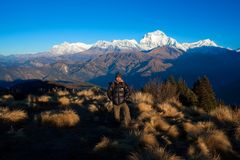 Poon Hill and Dhaulagiri stock photo