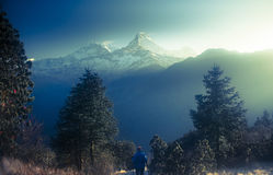 Poon hill. Ghorepani is a village in Myagdi District in the Dhaulagiri Zone of northern-central Nepal. ... to mountain trekkers, many of whom spend the night Royalty Free Stock Photography