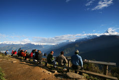 Poon Hill,Hiking annapurna,nepal. Mountain view on Poon hill in early morning, hiking to annapurna, nepal stock photo