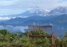Poon Hill. Lonely seat in Poon Hill Nepal Stock Photo