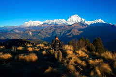 Poon Hill, Nepal. ANNAPURNA NATIONAL PARK, NEPAL - DECEMBER 20: Trekking Guide poses for a photo at Poon Hill on December 20, 2009 in Annapurna National Park stock images