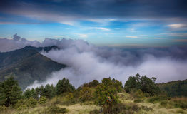 Poon Hill, Nepal. Clouds under the Poon Hill at sunset , Nepal royalty free stock photography