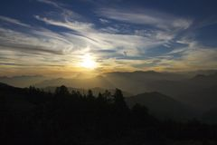 Poon Hill sunset in the Himalayas Stock Image