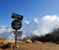 Poon Hills information Signage with Annapurna Mountain View as a Background. Poon Hills is a popular view point in Nepal to see the scenery of Annapurna Mountain stock photo